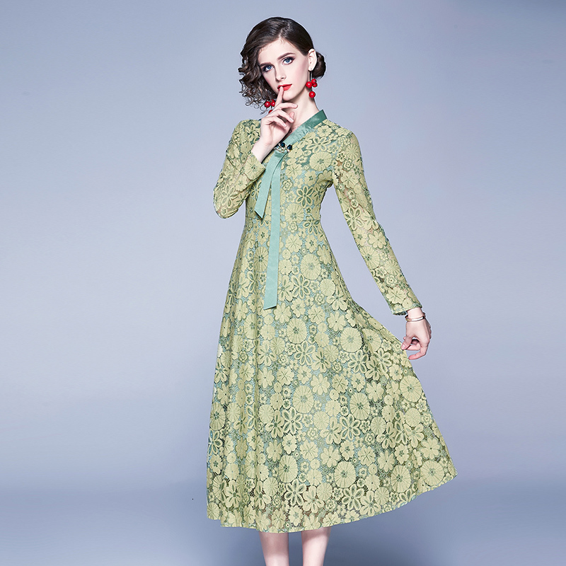 Europe United States Green Embroidery Lace <font><b>Dress</b></font> Party Howllow Out Elegant Floral Long Sleeve <font><b>Runway</b></font> <font><b>Dress</b></font> <font><b>Designer</b></font> <font><b>2019</b></font> Autumn image