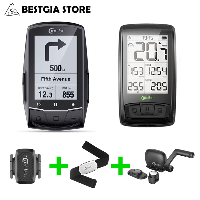Meilan M1 M4 Wireless Bluetooth4.0 Bicycle Computer Bike Odometer Speed/Cadence Sensor+Chest Heart Rate Monitor Cycling Computer