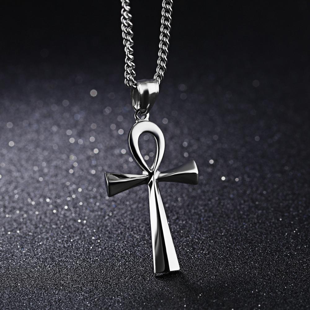 OPK personnalité gravure plaque compacte acier inoxydable ancienne croix égyptienne collier pendentif homme - 2