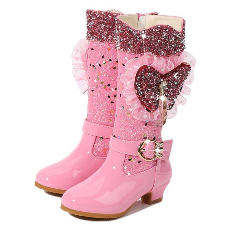 Hot Winter New High Boots Girls Princess Elsa Children Sequins Snow Boots Fashion Diamond Winter Warm Boot