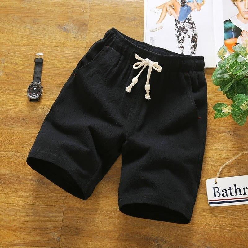 Hot Sale Summer Fashion Solid Cotton Pantalones Cortos Hombre Drawstring Waist Straight Plus Size M-5XL Mens Casual Beach Shorts