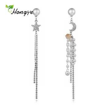 Hongye pendientes de gota de cadena de perlas naturales de moda para mujer niña bonita flor metálica Brincos joyería fina 2020 bisutería de boda