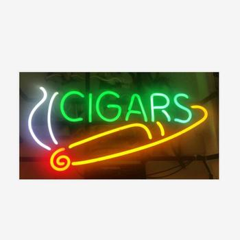 Custom Cigars Glass Neon Light Sign Beer Bar