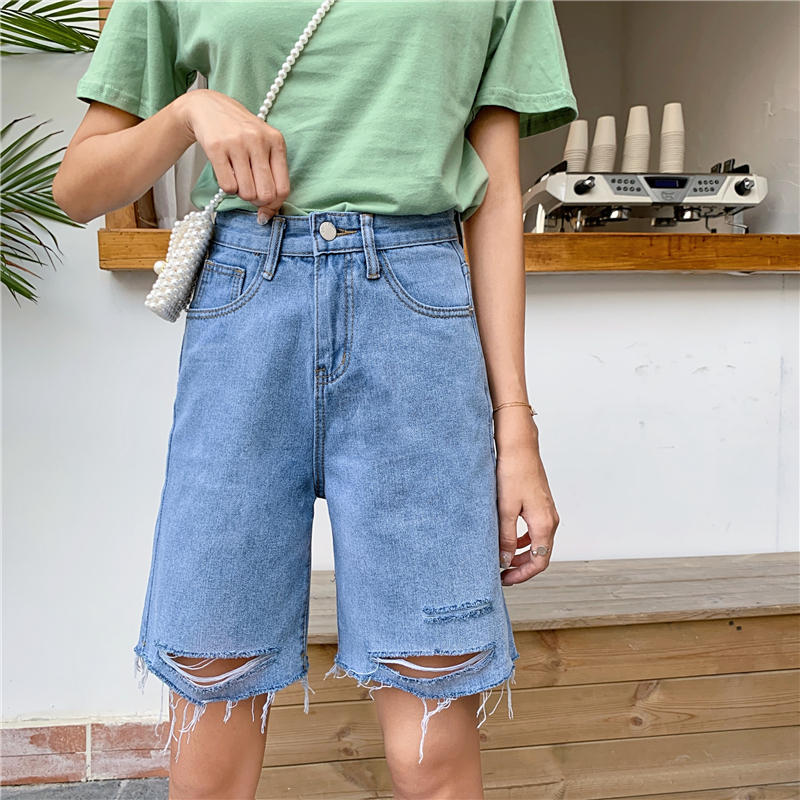 S-5XL Vintage Jeans Shorts Women Large Size New Korean Student Hole Denim Shorts Female Summer High Waist Loose Straight Shorts