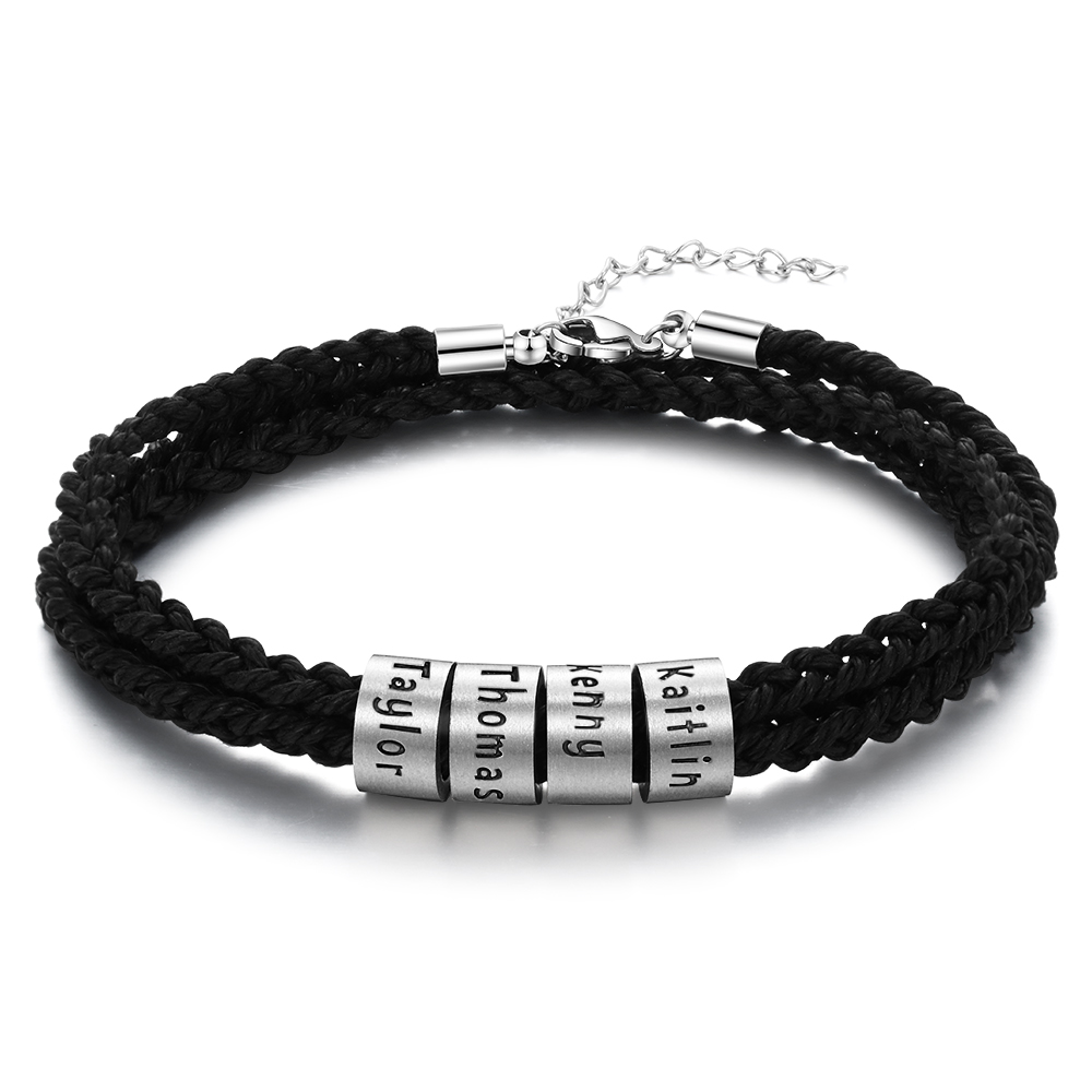 Personalized Stainless Steel Beads Braided Rope Bracelet Custom Engraved Family Name Bracelets & Bangle Adjustable Gifts For Men