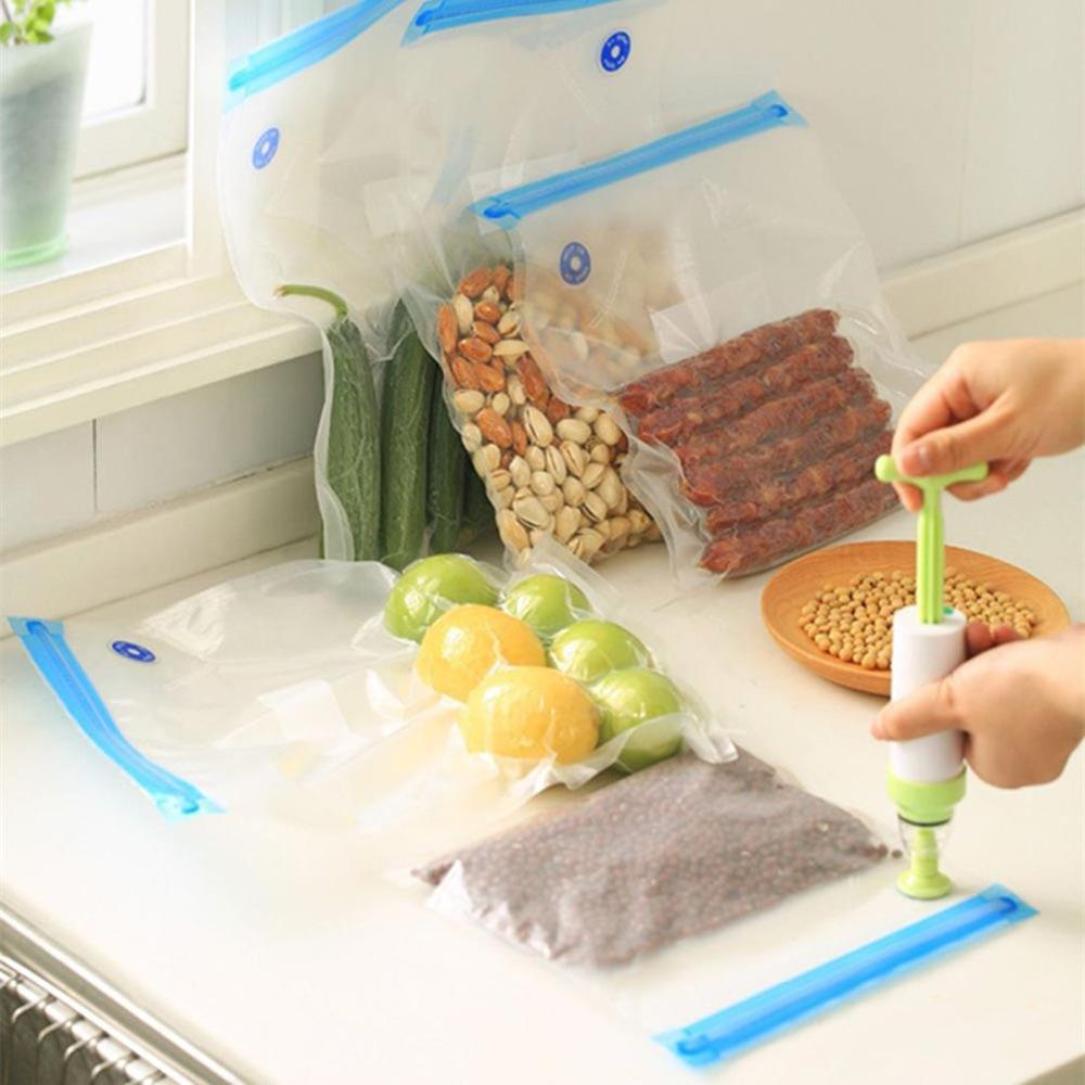 Reusable Vacuum Compression Storage Bags Silicone Freezer Preservation Fresh Food Packaging Pumps Multi Size in Storage Bottles Jars from Home Garden