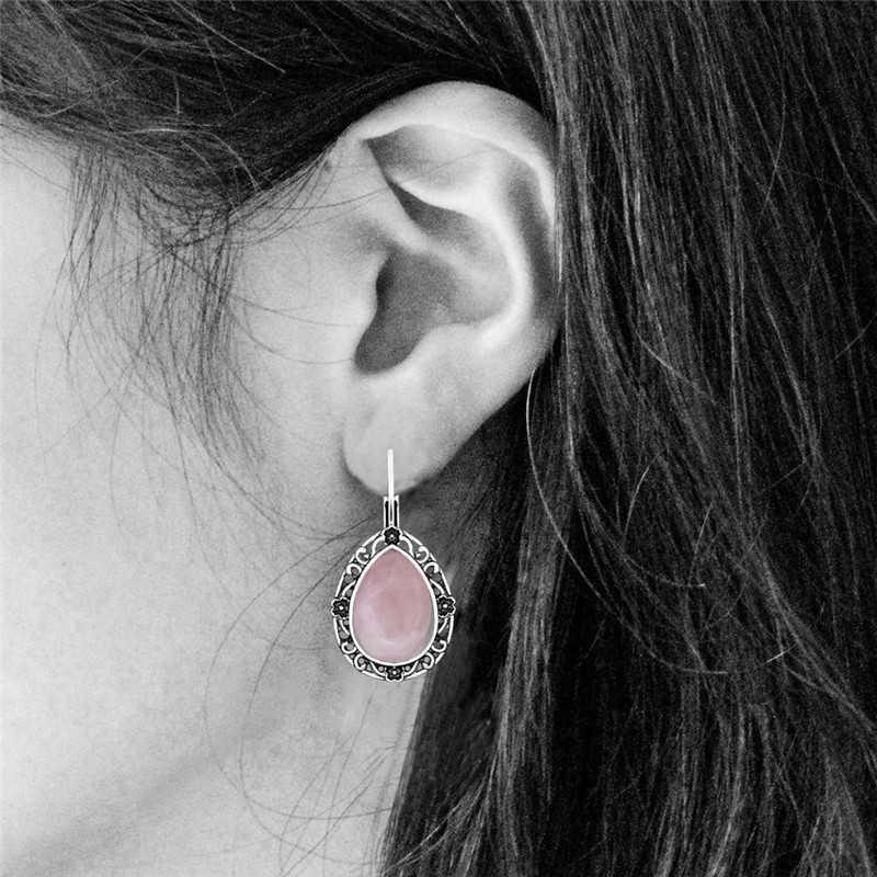 Water Drop Pink Quartz Plant Bloem Haak Oorbellen Voor Vrouwen Oud Zilver Mode-sieraden