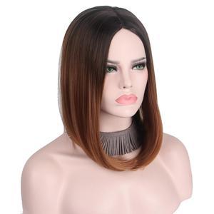 Image 3 - קצר אפור פאת כסף שערות Ombre קוספליי פאות עבור נשים קצר בוב פאה לא פוני התיכון חלק כתף אורך לא שיער טבעי Anxin