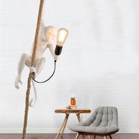 현대 원숭이 램프 수 지 펜 던 트 조명 레트로 LED 키즈 룸 침실 카페 화이트 바 펜 던 트 램프 조명 주방 전등