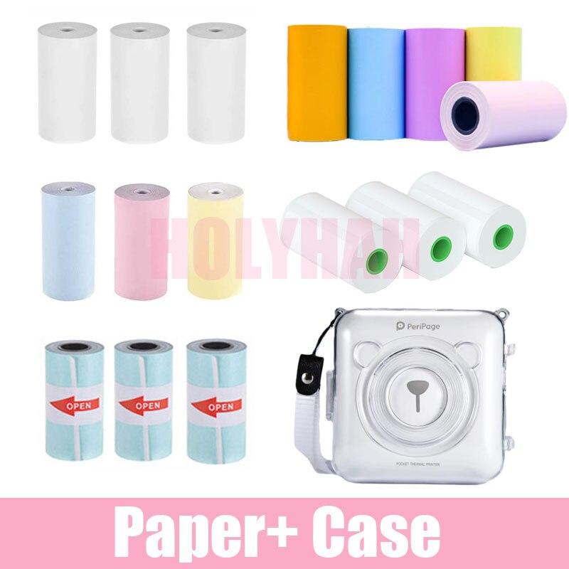 Все бумажные наклейки Peripage A6 для термопринтера белого цвета, этикетка с медведем, полупрозрачные фото, Жесткий Мягкий защитный чехол