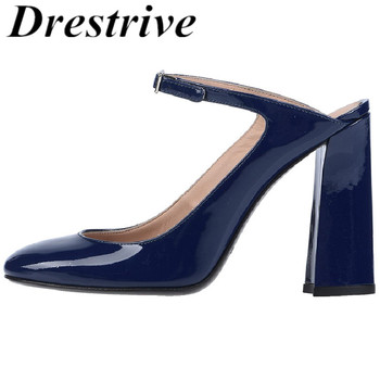 Drestrive Customize Women Pumps Patent Leather Thick Heels Round Toe Buckle 2020 Summer Female High Heel Shoes Big Size 15