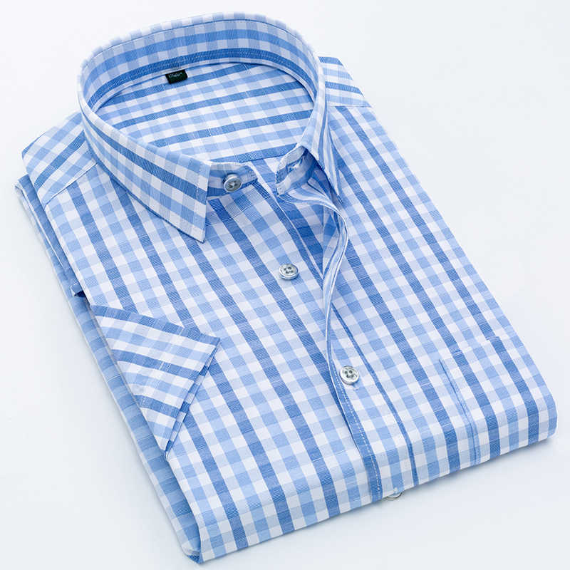 Männer Hemd Plaid Kurzarm Kleid Gestreiften Formalen Shirt 2020 Sommer Casual Slim Fit Tasche Hohe Qualität Business Dropshipping