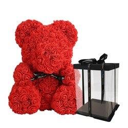 Drop Verzending Valentijnsdag Gift Rose Bloem 25 Cm Rose Teddybeer Kunstmatige Decoratie Vrouwen Kerstmis Valentines Gift