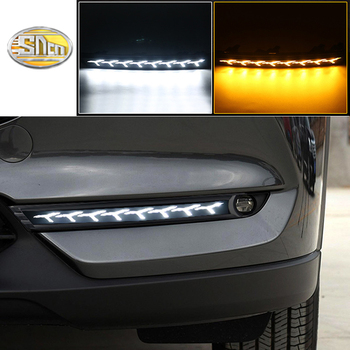 SNCN LED Daytime running lights for Mazda CX-5 CX5 CX8 CX-8 2017 2018 DRL bumper lamp with yellow turn signal light
