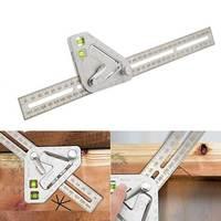 Multifunction calibres de aço inoxidável transferidor medição carpintaria triângulo régua ferramenta acessórios escala clara -
