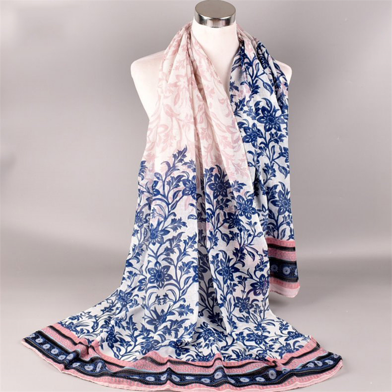Women Gradient Glitter Voile Long Hijab Scarf Shawl Wrap Pashmina Stole Womens Scarves Ladies Wraps Floral Dot Print Women Scarf