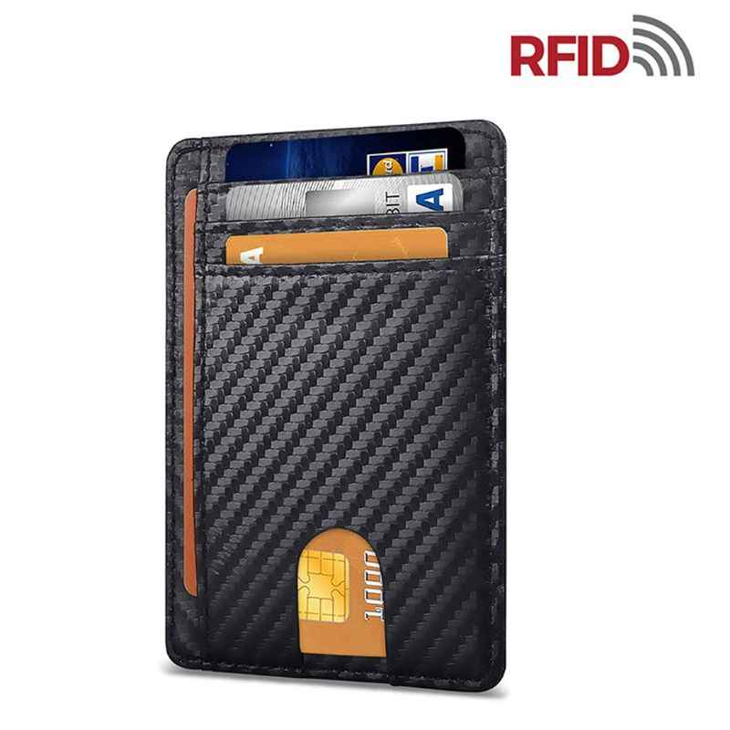 Slanke Rfid Blocking Lederen Portemonnee Minimalistische Creditcard Geld Portemonnee Kaarthouder