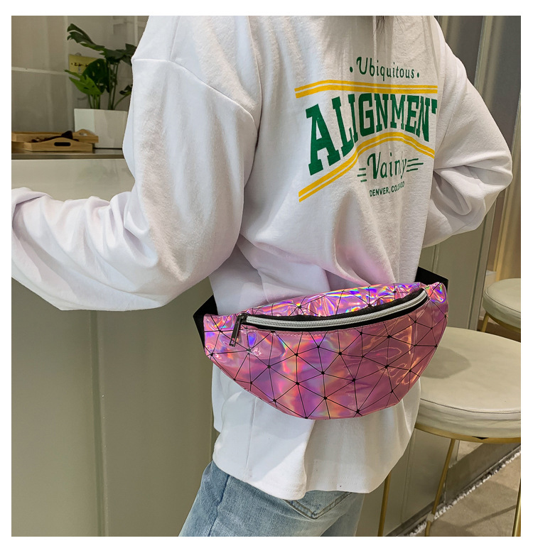 ZFF&WGM Holographic Fanny Pack For Women Ladies Hologram Waist Bag Black Geometric Waist Pack Leather Chest Bag Hip Pouch