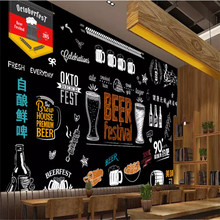 Osobowość ręcznie malowana tablica piwo grill restauracja tło tapeta Bar Club wystrój przemysłowy Mural tapeta 3D