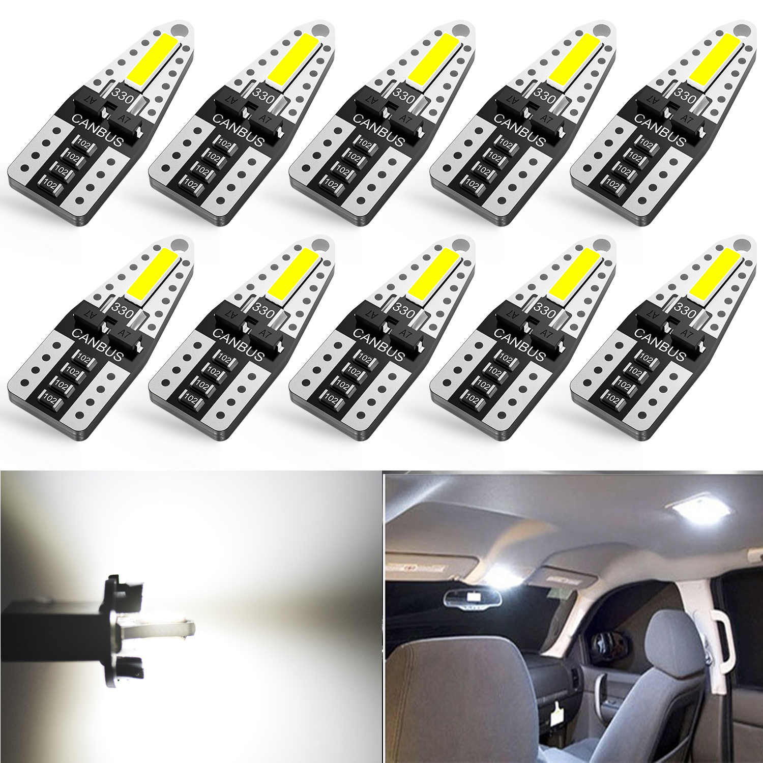 AUXITO 10x T10 Led W5W Canbus Error Free Bulb For VW T5 Passat B5 B6 B8 Golf 4 6 7 MK4 MK3 Jetta MK6 Scirocco Car Interior Light image