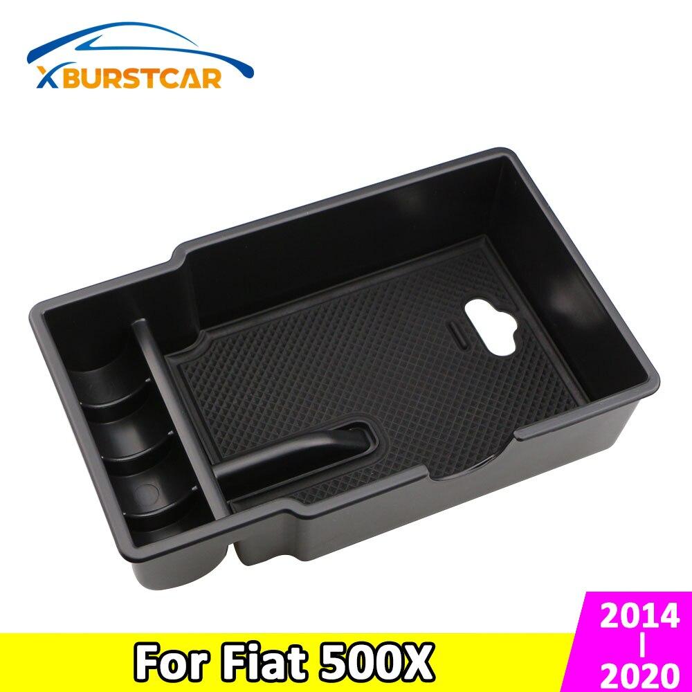 Xburstcar para fiat 500x 2014- 2020 estilo do carro abs antiderrapante esteira centro caixa de armazenamento de braço caixa de luva caixa de armazenamento acessórios