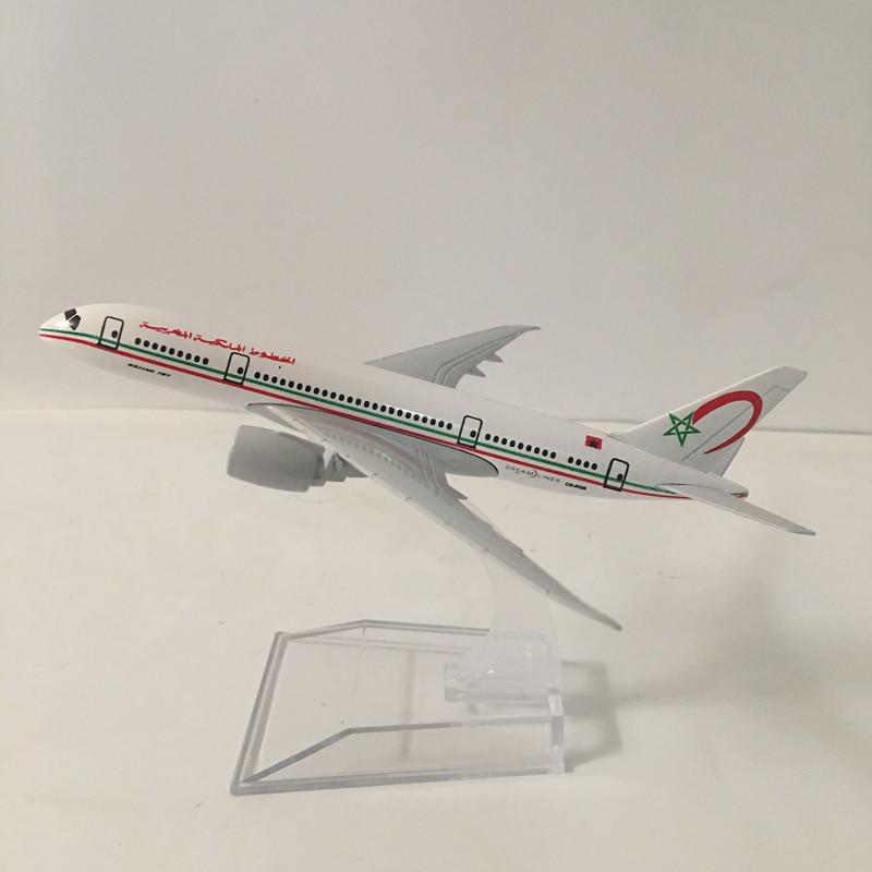 JASON TUTU Plane Model Airplane Model 16cm Royal Air Maroc Boeing 787 Aircraft Model Diecast Metal Airplanes 1:400 Plane Toy