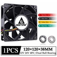1Pcs Gdstime DC 12V 24V 48V 12038 120mm x 38mm 5300rpm High Airflow Cooler Fan 120x38m 12cm 4pin PWM FG DC Brushless Cooling Fan