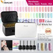 Venalisa ensemble de vernis à ongles de 12ml, Gel de couleurs, Base/Top, livre de couleurs/sac pour nail Art, kit cadeau
