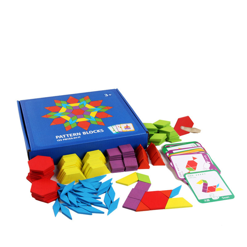 155 PCS Puzzle Educational Toys for Children Creative Games Jigsaw Puzzle Learning Kids Developing Wooden Geometric Shape Toys 4