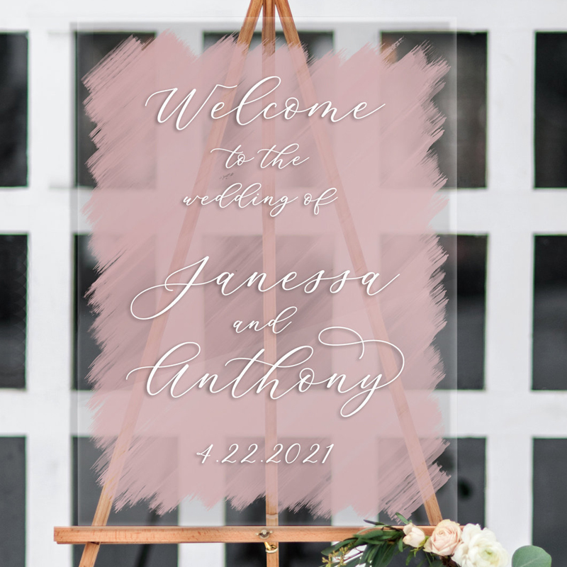 Wedding Welcome SignPersonalized Acrylic Wedding SignClear Painted for WeddingDisplay Modern Wedding Decor Sign Clear Acrylic