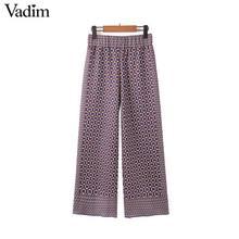 Vadim women elegant geometric pattern wide leg pants elastic waist retro female casual cozy trousers pantalones mujer KB234