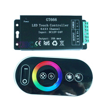 Wholesale GT666 Touch led dimmer DC12-24V 6A*3channel Max 18A RGB controller for 5050 strip lights free shipping