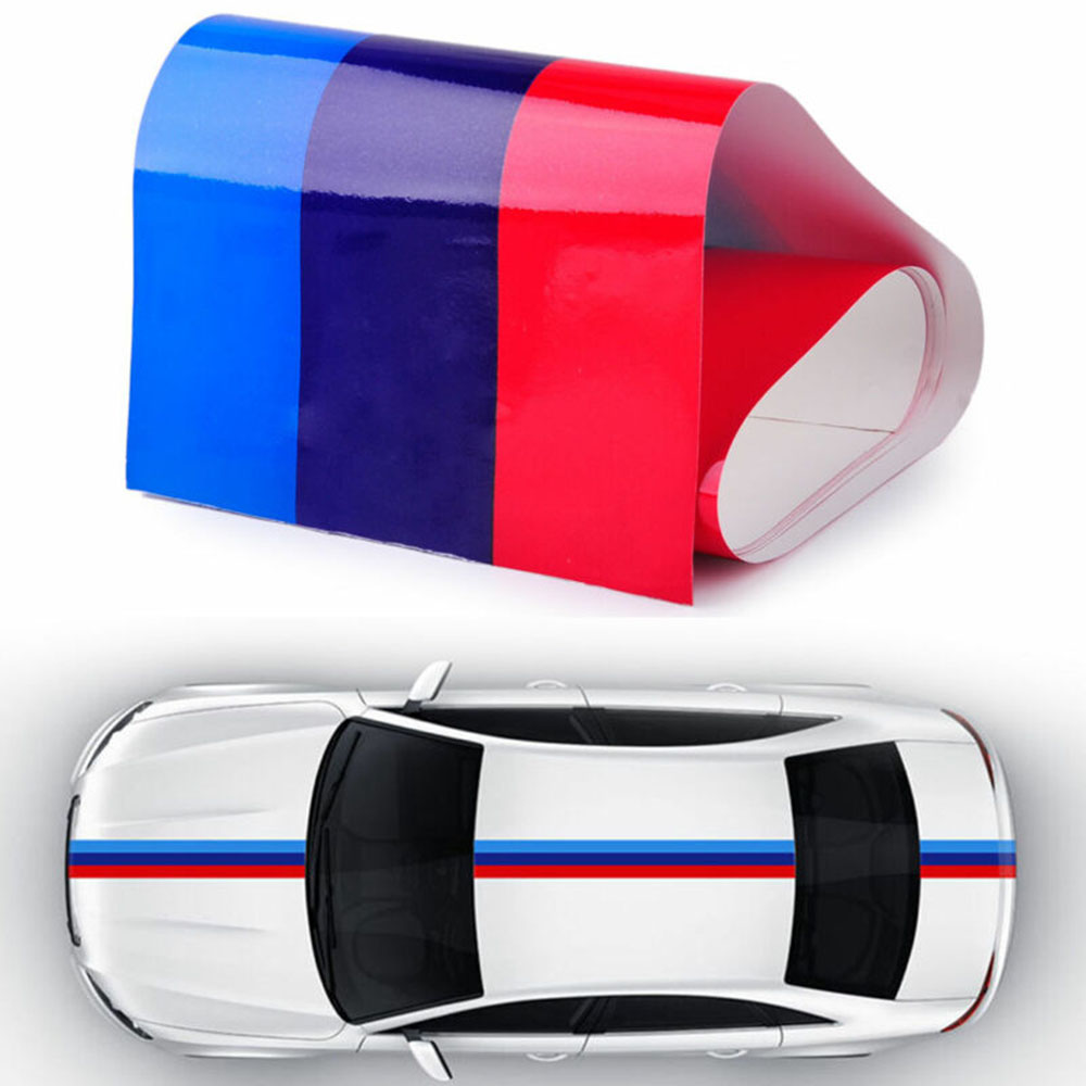 3D Car Hood Side Vinyl Stripe Sticker Body Bumper 120x25cm Decal Engine Cover