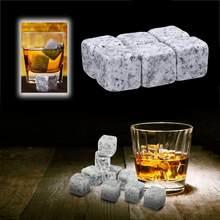 6 pçs natural reusável uísque pedras bebendo uísque conjunto de pedra mais fresco favor do casamento bebidas vinho refrigerador barra de barware