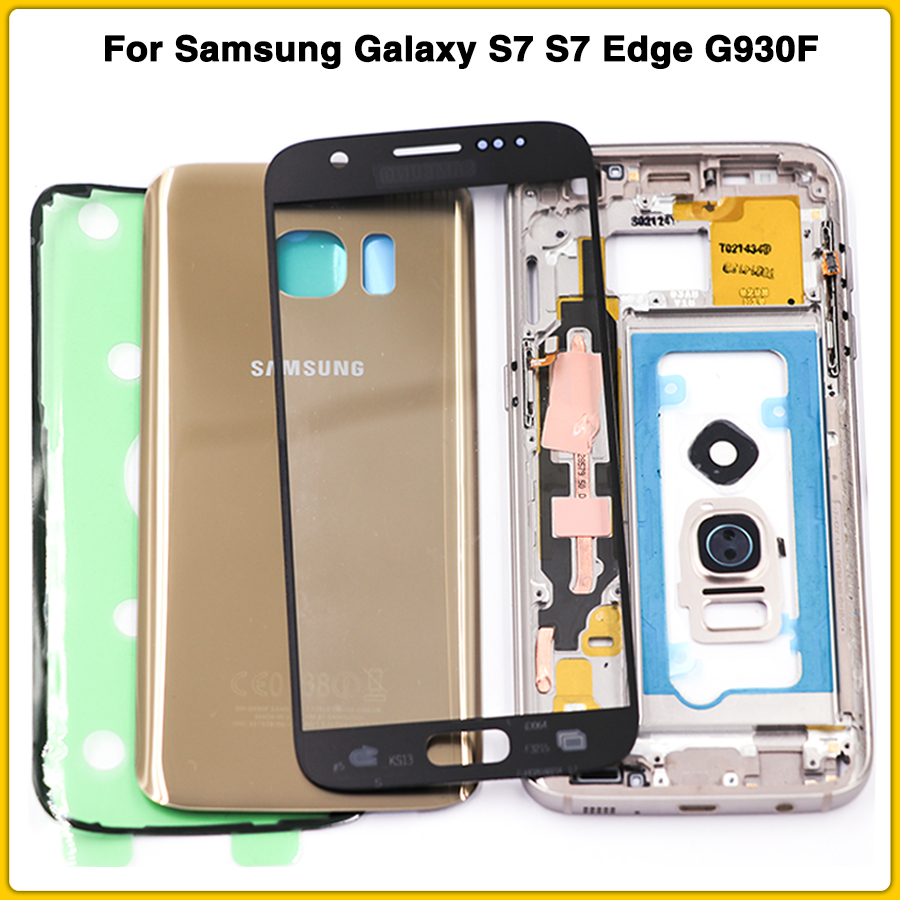 New S7 Full Housing For Samsung Galaxy S7 Edge G930F G935F Middle Frame Battery Back Cover With Touch Glass Lens Sticker Glue