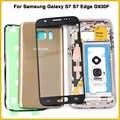 Nouveau S7 logement complet pour Samsung Galaxy S7 Edge G930F G935F cadre moyen batterie couverture arrière avec lentille en verre tactile autocollant colle