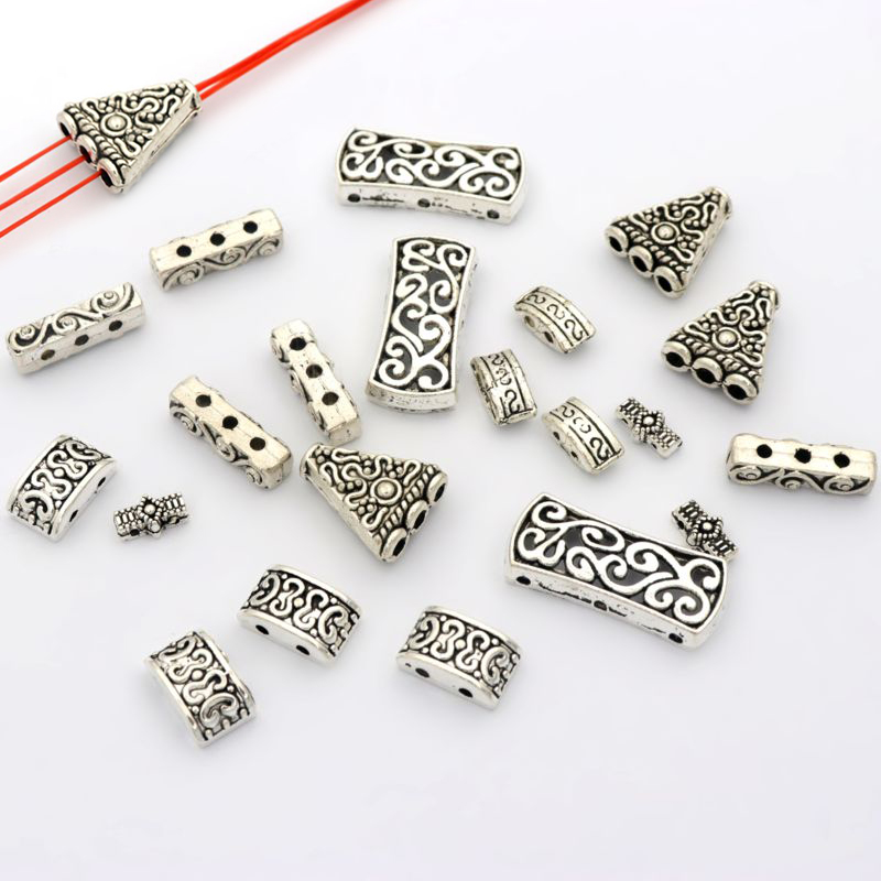 20pcs Tibetan Silver Gold 2 3 in 1 Holes Flower Spacer Loose Charm Metal Beads For Jewelry Making Diy Finding Accessories