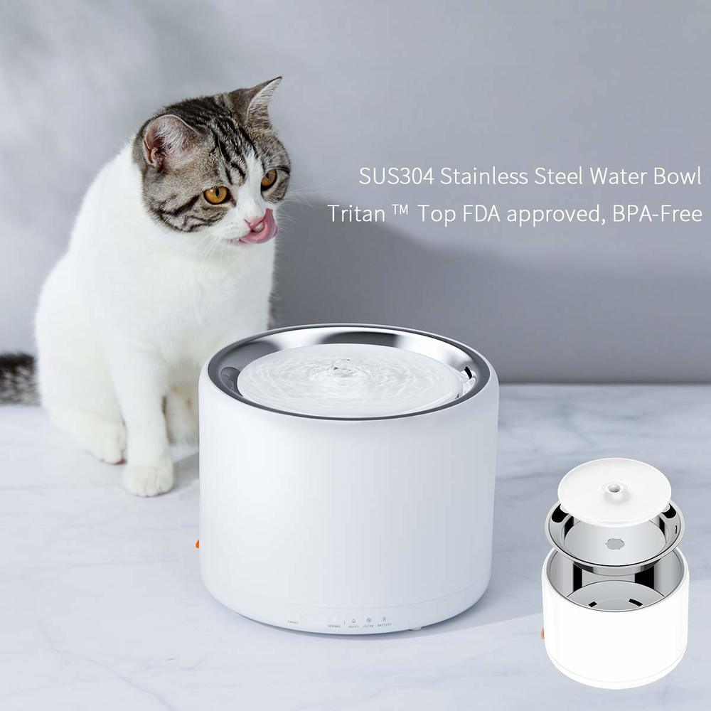 PETKIT 1.35L Smart Pet Water Fountain Stainless Steel LED Light Indicator Auto-Shut Off Pump Dual Working Mode Cat Water Bowl