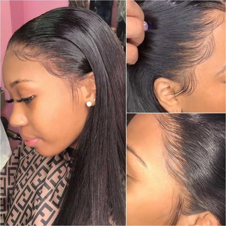 Koronkowe peruki z ludzkich włosów prosto wstępnie oskubane włosy z włosów dla dzieci 13x4 brazylijskie peruki z długimi włosami peruki z ludzkich włosów dla czarnych kobiet
