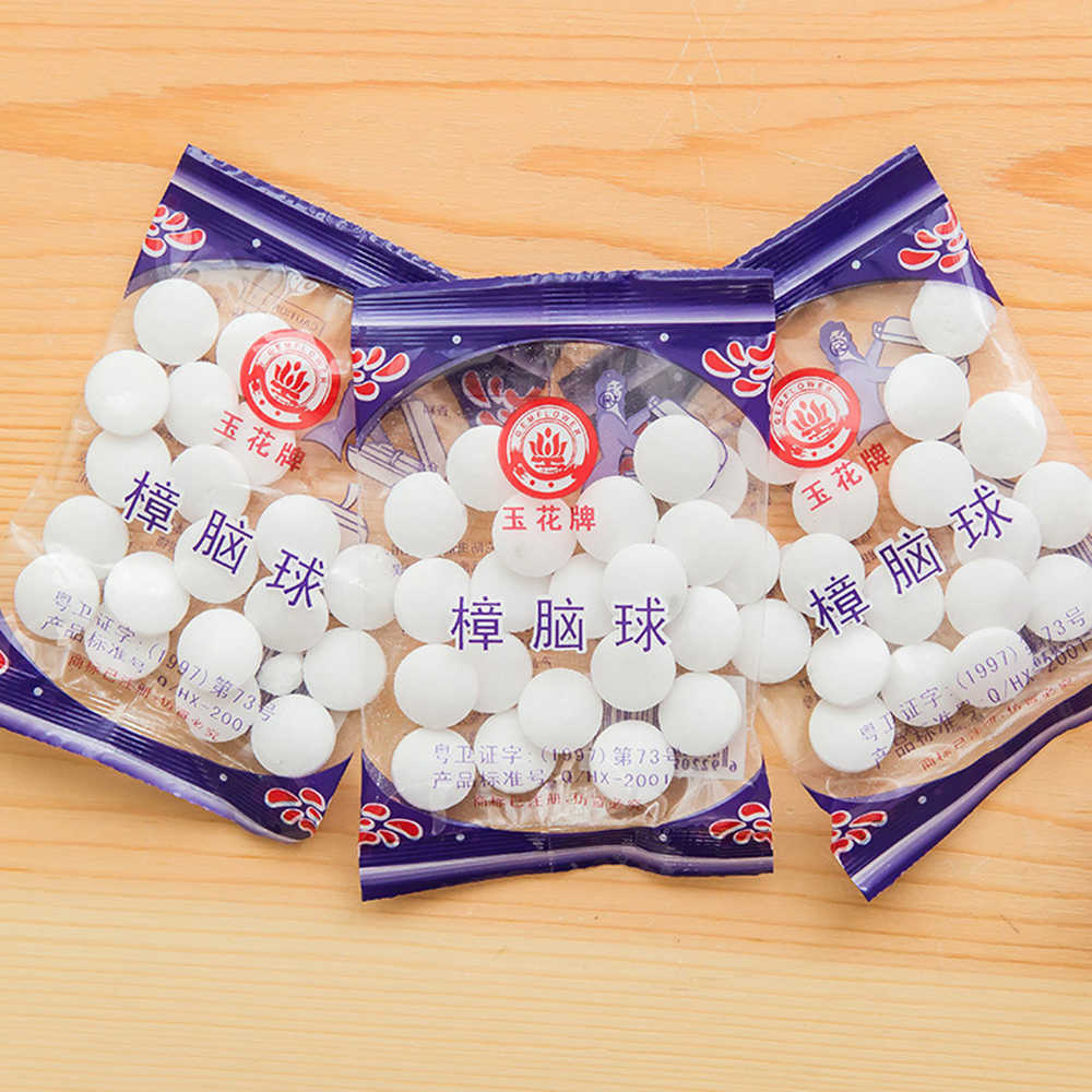 New 20pcs/bag Natural Mothballs Anti-mold Moth Repellent Camphor Ball Pest Control Wardrobe Drawer Deodorizer TSLM2