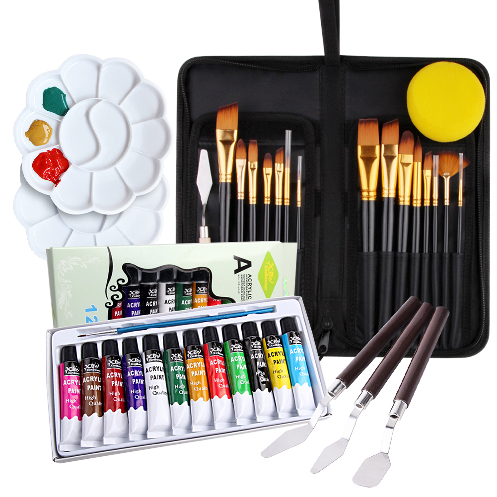 35PCS Acrylic Paint Brush Set Art Drawing Painting Tools Supplies With Brushes Palette Knife Acrylic Paint Set With Storage Case