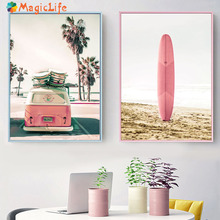 купить Beach tourism wall art canvas painting Skateboarding nordic posters and prints seashore seascape decoration home unframed по цене 280.72 рублей