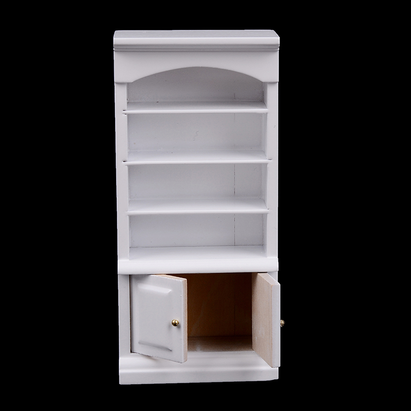 1Pc Wooden Furniture Modern White Doll House Wooden Living Room Book Cabinet Bookshelf Cabinet Wardrobe 1:12 Dollhouse
