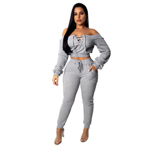 New solid hoodie crop top eyelet band casual suit Women Sweat Two Piece Set Suits eyelet drawstring graphic hoodie
