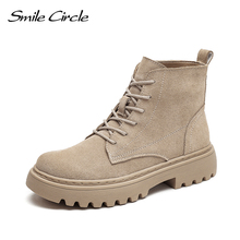 Smile Circle Ankle Boots Suede Leather women Flat platform Short Boots Ladies shoes fashion Autumn winter boots cheap CN(Origin) Cow Suede Solid F10001 Adult Square heel Basic Stretch Spandex Round Toe Rubber Med (3cm-5cm) Lace-Up Fits true to size take your normal size