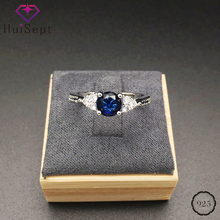 HuiSept Elegant Silver 925 Ring Round Shape Sapphire Zircon Gemstones Jewelry Female Rings Wedding Promise Party Gift Wholesale