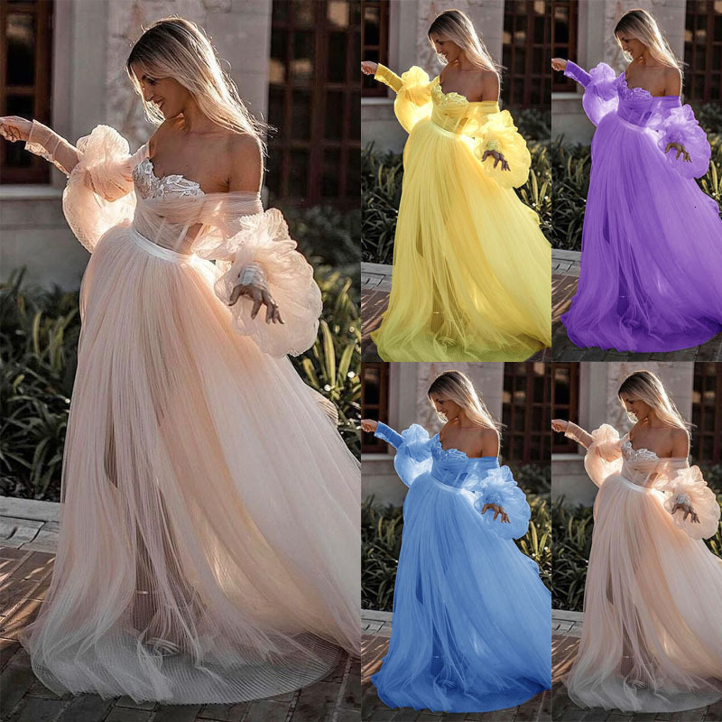 BacklakeGirls New Tulle Dress Sexy Boat Neck Strapless Off Shoulder Mesh Dress Pleated A-line Fairy Formal Dresses Evening Gown