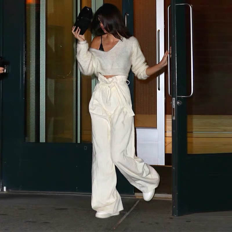 Kendall Jenner Same Style Autumn Women Casual Straight Full Length Pants Fashion High Waist Elastic Belt Tie Trouser White Pant