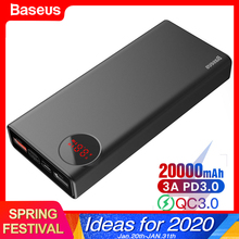 Baseus 20000mAh Power Bank USB C PD Fast Quick Charge 3.0 20