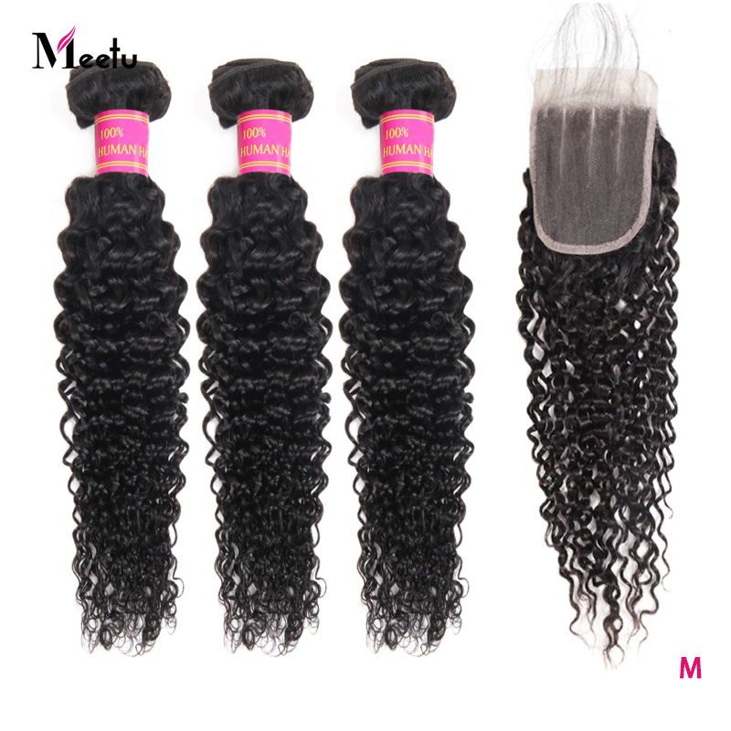 Meetu Kinky Curly Bundles With Closure Brazilian Hair Weave Bundles With Closure Non-Remy 3PCS Human Hair Bundles With Closure